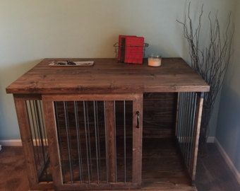 custom sliding door dog kennel crate coffee or entry table - Dog Crate Side Tables