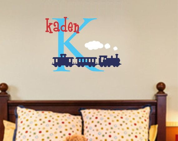 Train Wall Decal Boy Nursery Name Monogram Vinyl Lettering Decor - Monogram vinyl wall decals for boys