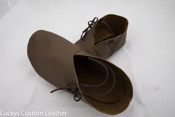 331dffa5 Leather Shoe, Viking Medieval Turn Shoe, hand made, renaissance style LARP,  Custom footwear, Outdoor