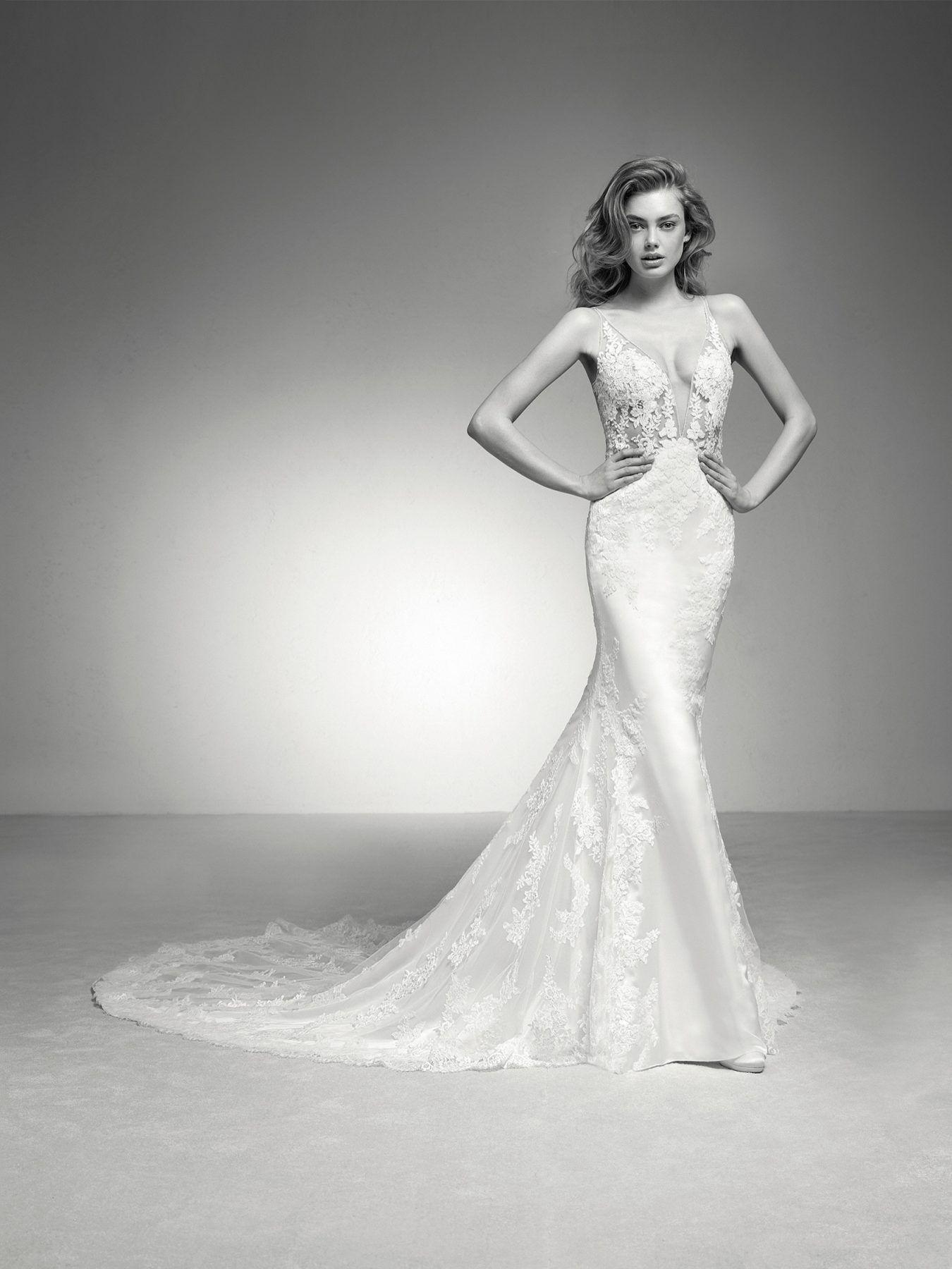 Tulle skirt wedding dress  Fit and flare Vneck illusion lace and tulle skirt wedding dress