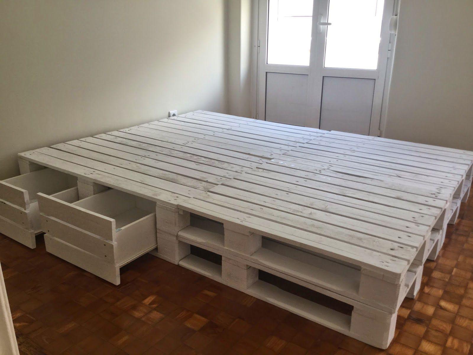 Oficina da madeira cama com gavetas paletes casa nova for Cama palets