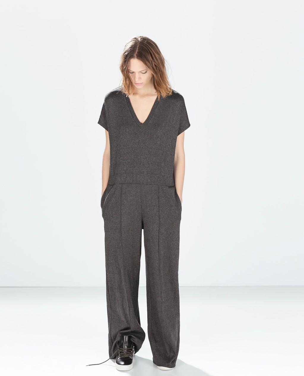 zara femme combi pantalon large ropa zara pinterest pantalones anchos zara y mono. Black Bedroom Furniture Sets. Home Design Ideas