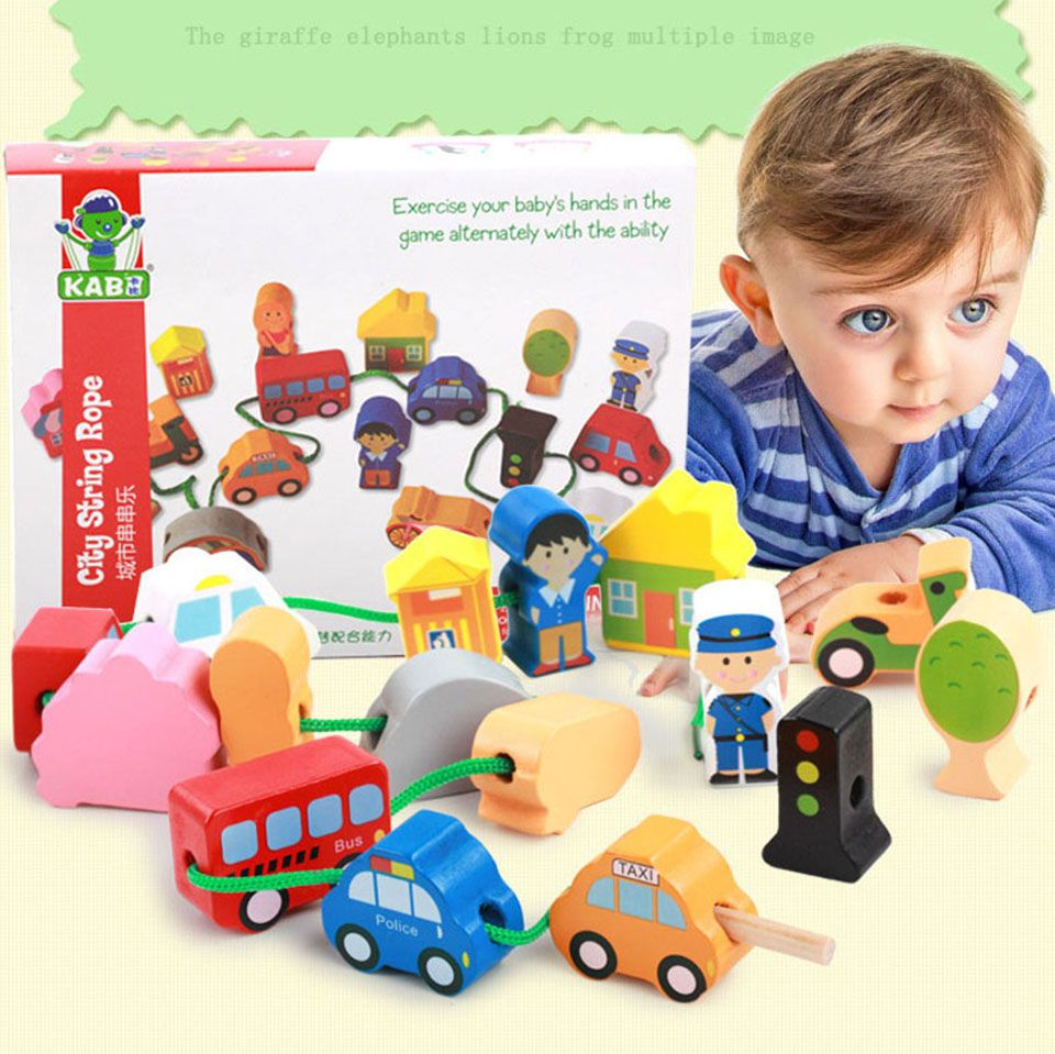 US $16.34 |26pcs/lot wooden toys Cartoon traffic car  Block Stringing Threading Beads Game Education Toy for Baby Kids Children|Beads Toys|   - AliExpress