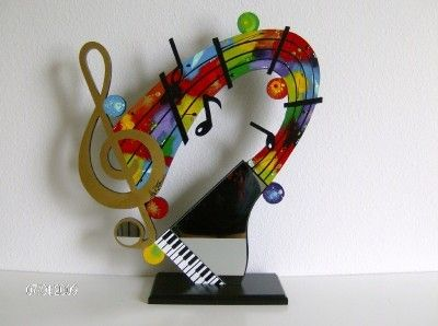 Music Themed Art Sculpture | Cool Contemporary Modern Abstract Music Piano  Mirror Table Sculpture