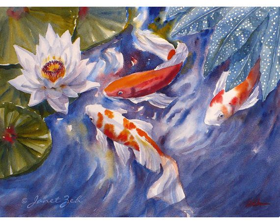 Koi fish original watercolor painting 11x14 by for Original koi fish