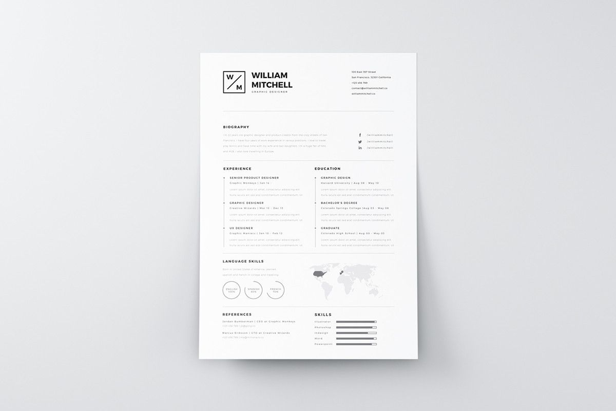 Free Minimalistic And Clean Resume Template  Resume