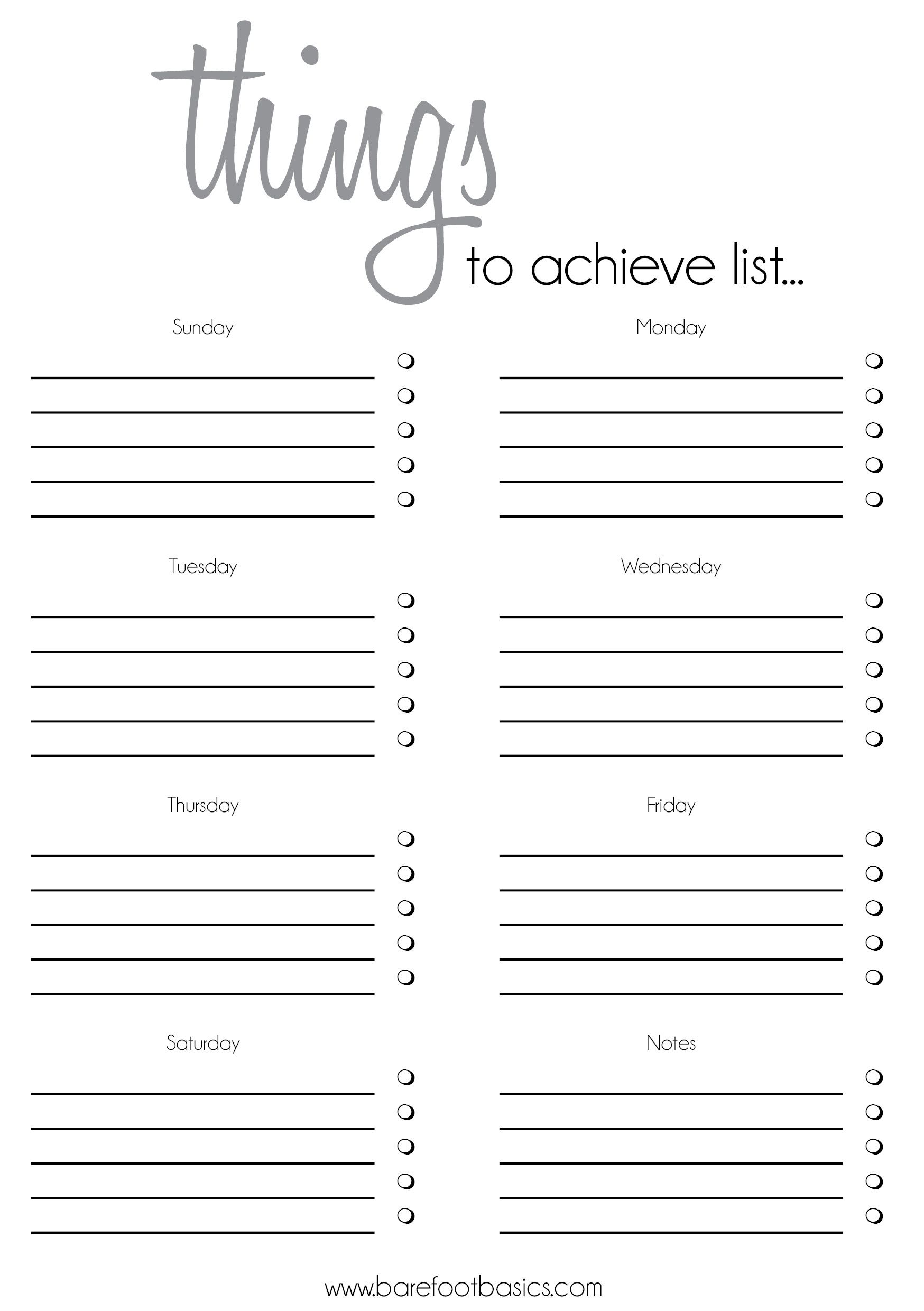 To Do List Template  Rochelle Stone  Barefoot Basics  Soul