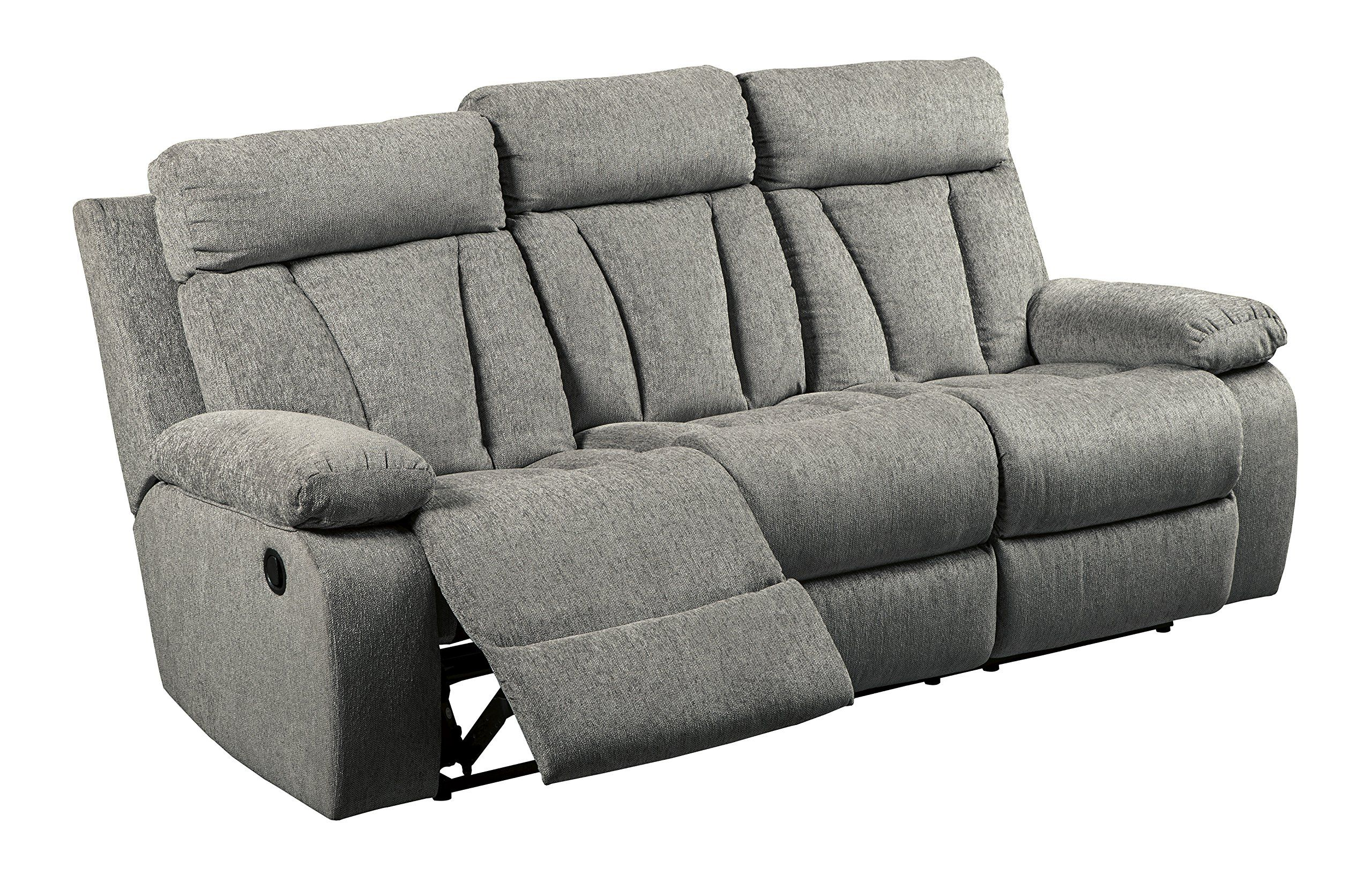 Signature Design By Ashley 7620489 Mitchiner Reclining Sofa With Drop Down Table Fog Rea Reclining Sofa Ashley Furniture Living Room Ashley Furniture Sofas
