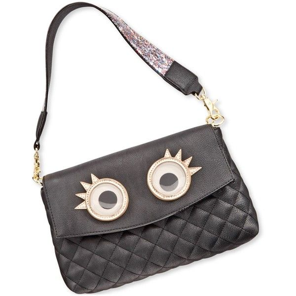 Betsey Johnson xox Trolls Convertible Clutch with Eyes, ($60) ❤ liked on Polyvore featuring bags, handbags, clutches, black, betsey johnson purse, betsey johnson, betsey johnson handbags and convertible clutch