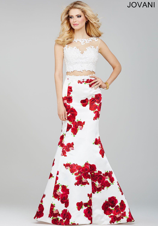 Black and white mermaid prom dress world dresses - Jovani Prom 35349 White Two Piece Print Prom Dress Two Piece Print Prom Dress 35349