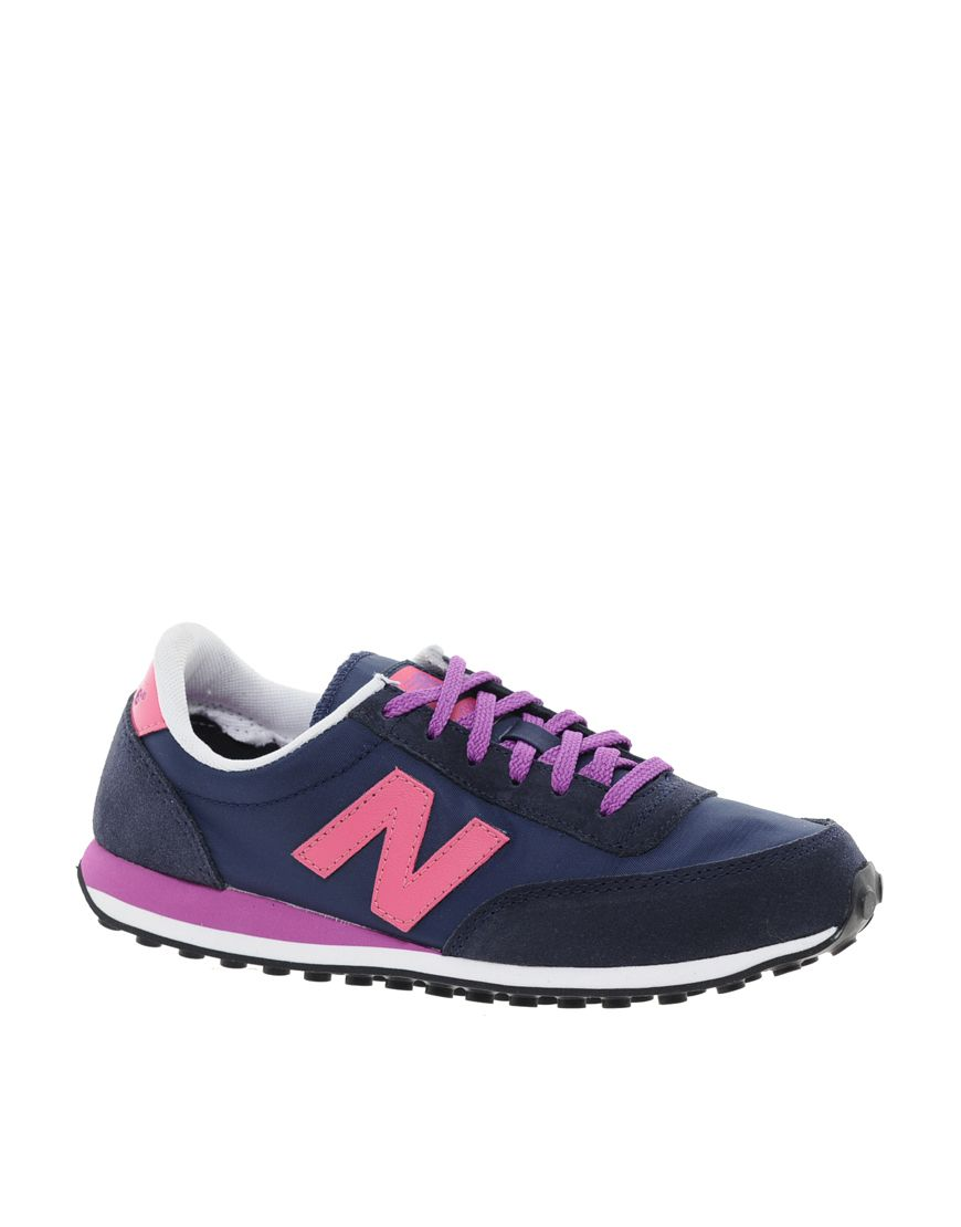 New Balance 410 Suede Trainers pink, purple, dark blue | My