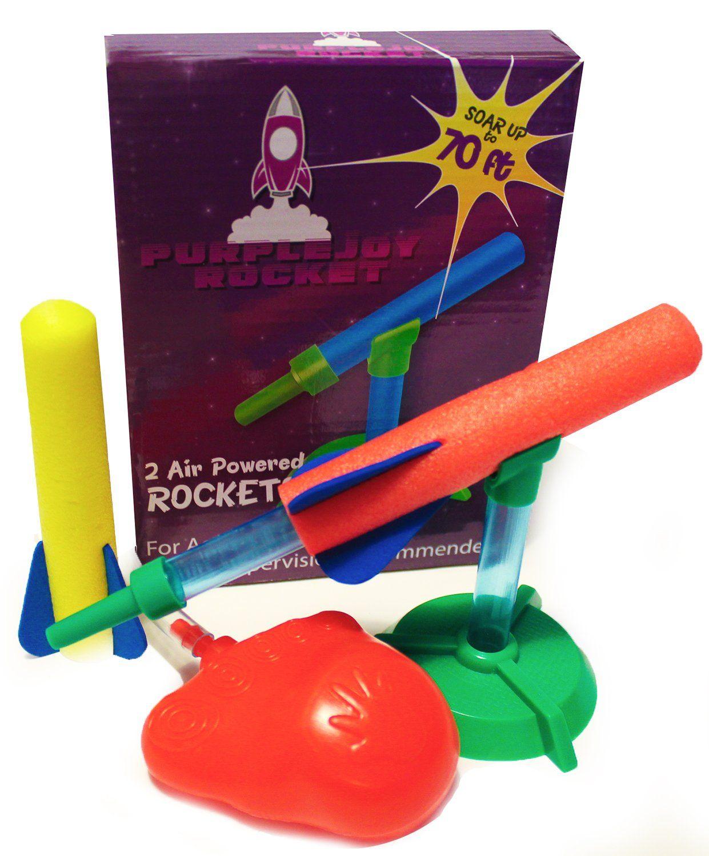rocket launcher u0026 air powered rocket ship for kids set of 2