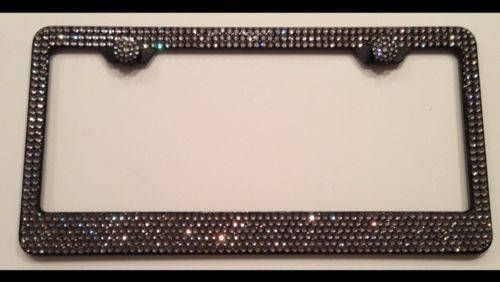 SWAROVSKI Crystal license plate frame 6 rows Large SS20 Black ...