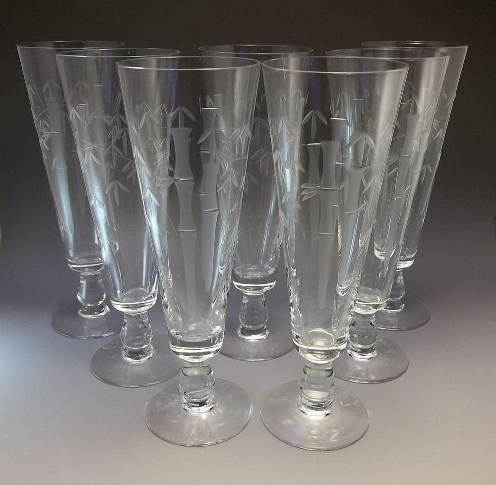 Mid Century Sasaki Noritake Crystal Bamboo Pilsner Goblet Etched Bar Glasses 7 #SasakiNoritake