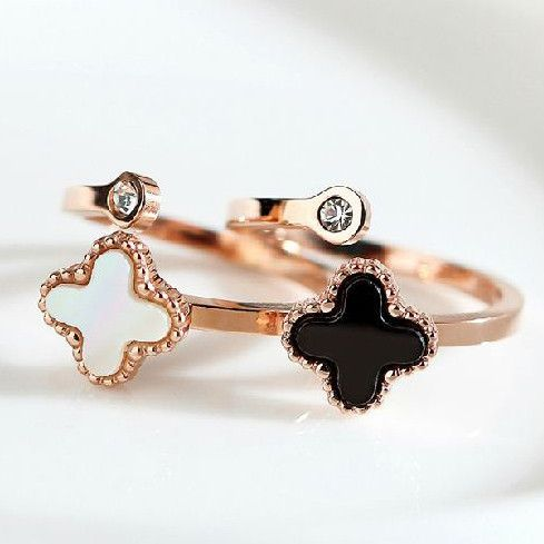 Lucky Clover Shaped Shells Ring-Color Black