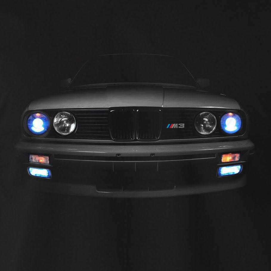 bmw e30 m3 t shirt scheinwerfer glow 3er horse power la. Black Bedroom Furniture Sets. Home Design Ideas