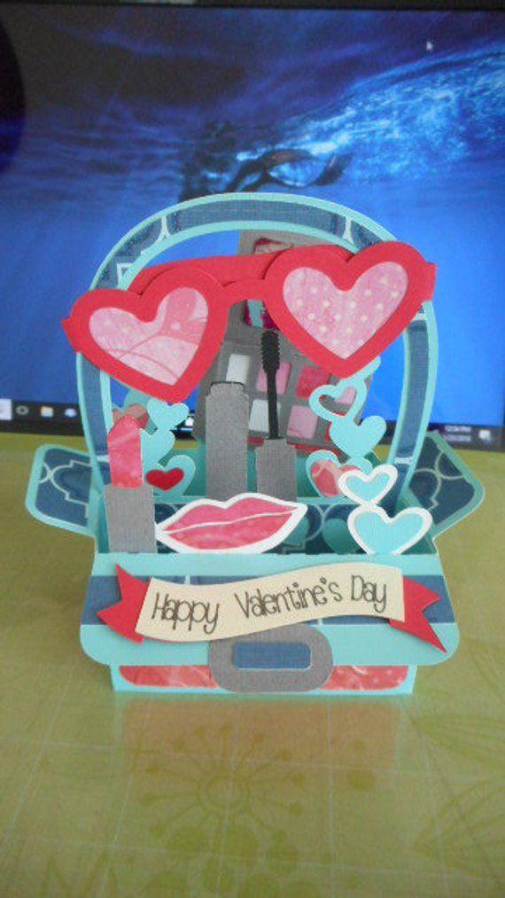 makeup bag valentine's day box card sweetheart 3d svg