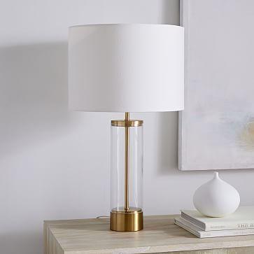 Acrylic Column Table Lamp Usb Antique Brass In 2019