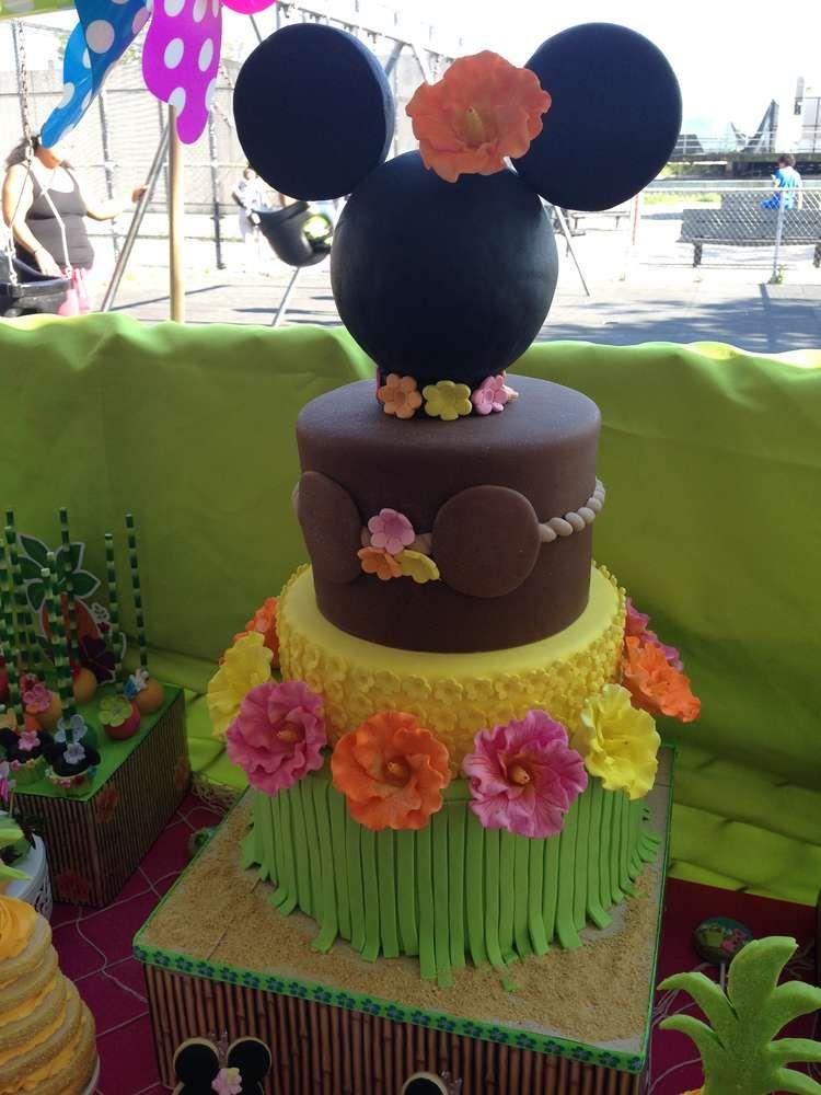 Incredible cake at a Hawaiian luau Minnie Mouse birthday