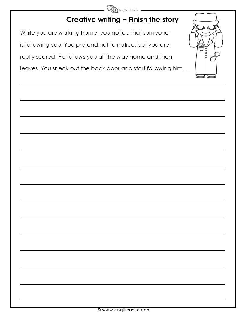 Creative Writing Finish The Story 1 English Unite Creative Writing Classes Writing Prompts For Kids Creative Writing Worksheets Story writing for kids worksheets