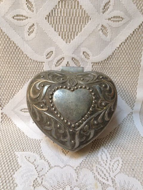 Vintage Silver Plated Heart Shaped Jewelry Box Vintage Wedding