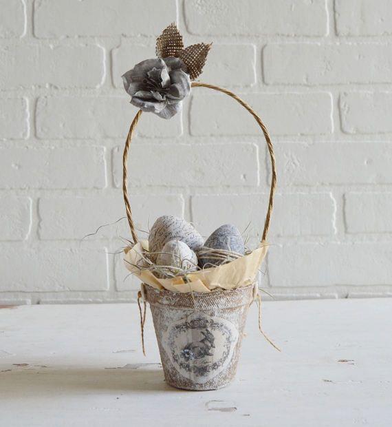 Easter Basket, Peat Pot Basket, Peat Pot Easter Basket, Shabby Easter Basket, Bunny Basket, Easter Eggs, Shabby Spring, Spring Decor,