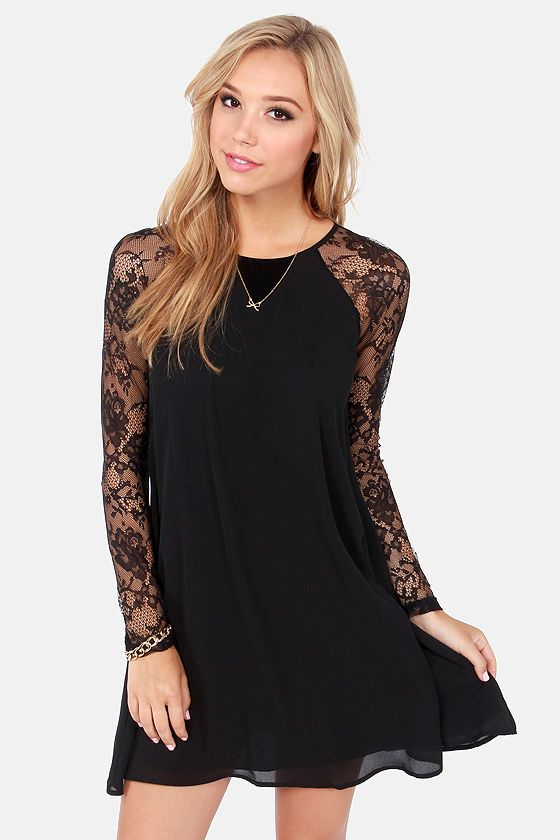 Black Shift Dress with Lace Sleeves