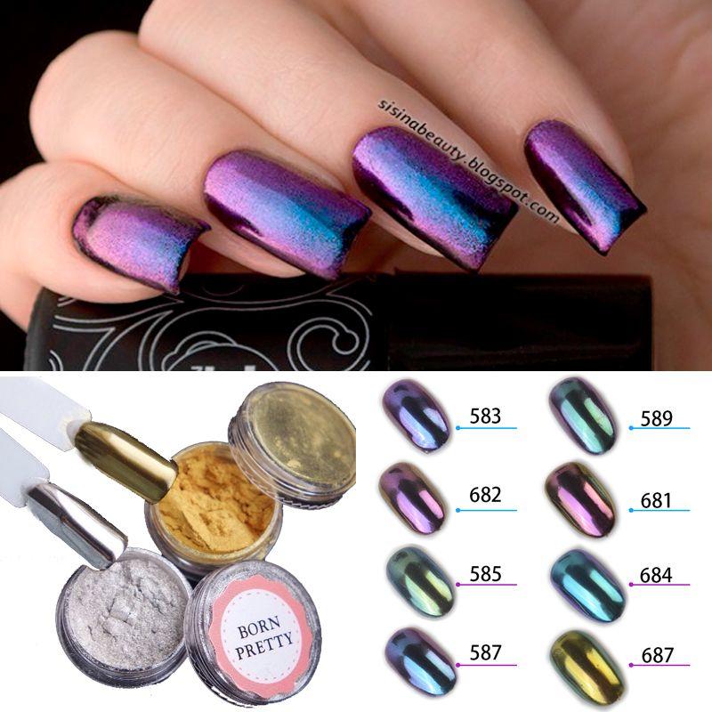 1g/box Shiny Mirror Glitter Nail Powder Gold Sliver Glitter ...