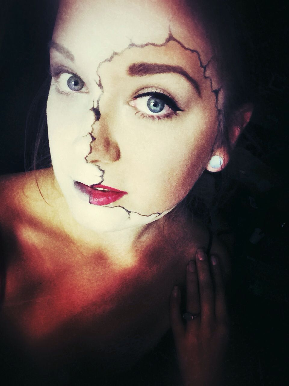 half skull face halloween makeup - Skull Faces Halloween