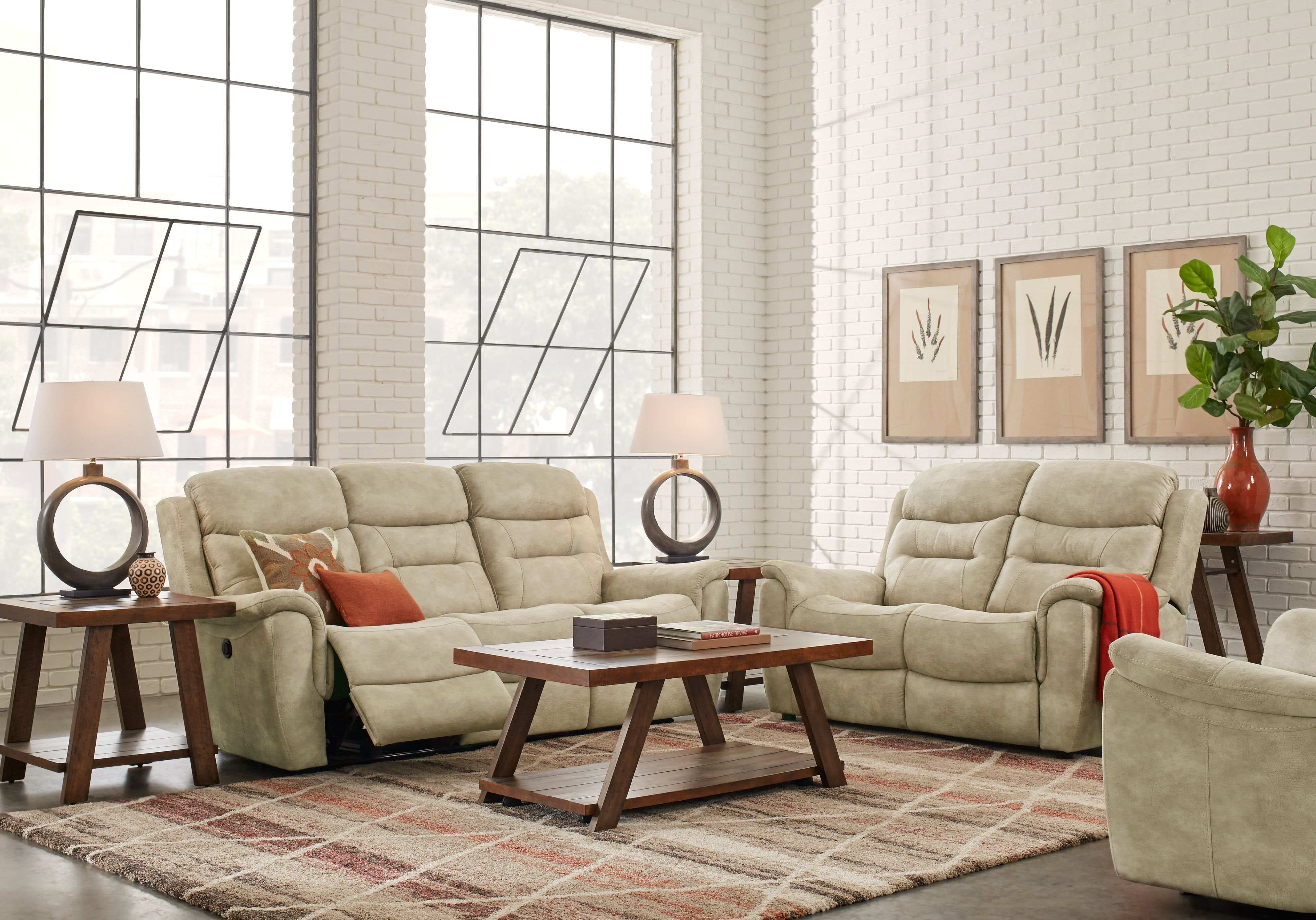 Halton Hills Sand 3 Pc Living Room With Reclining Sofa Living