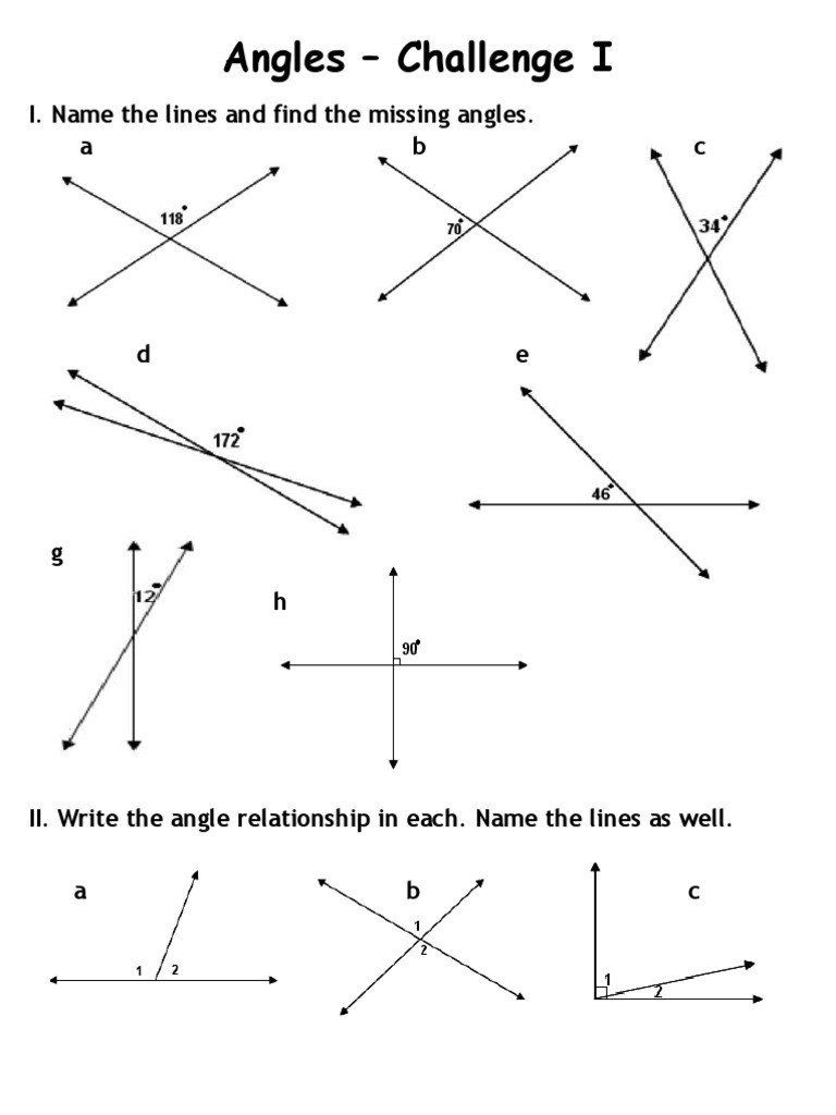 Finding Missing Angles Worksheet Answers Angles Worksheet Challenge I In 2020 Angles Worksheet Kids Worksheets Printables Printable Worksheets