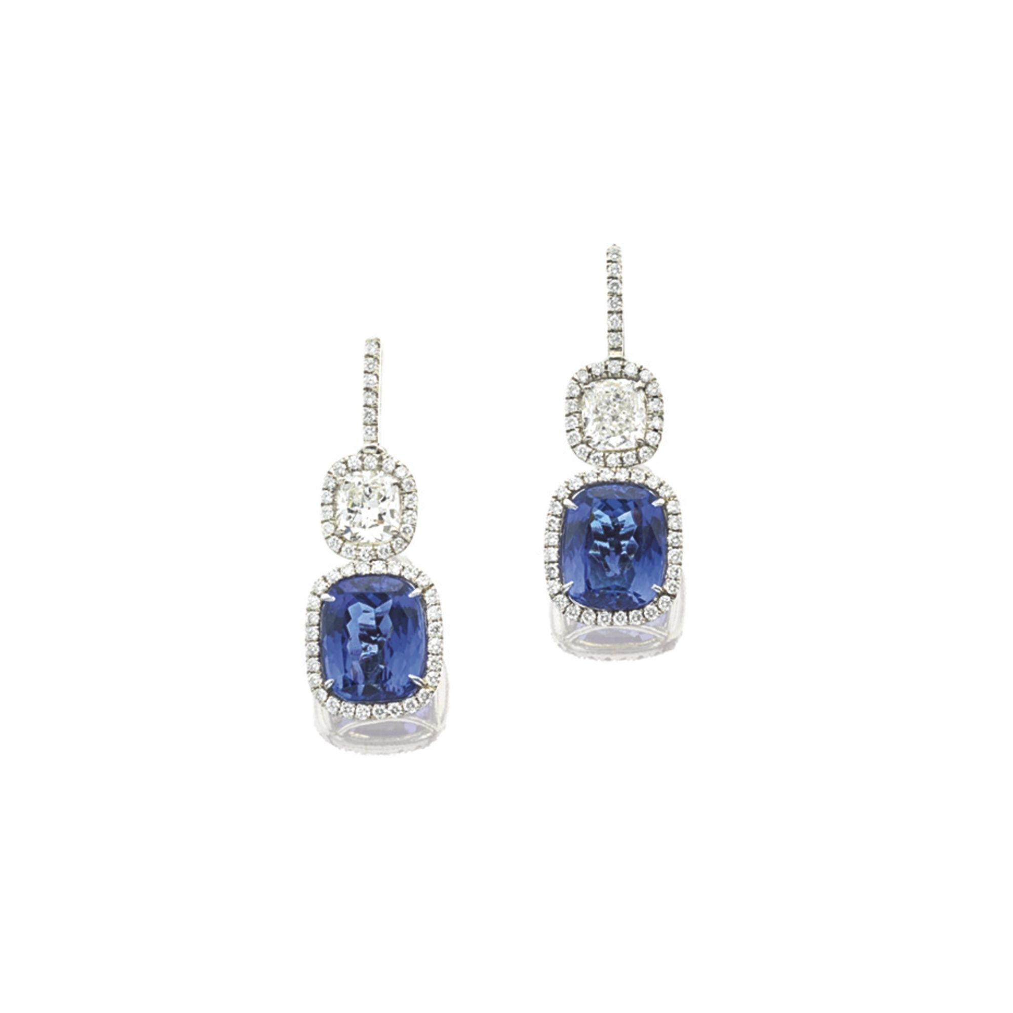 Pair of Tanzanite and Diamond Pendent Earrings Tiffany & Co Each