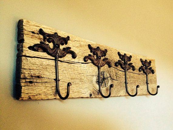 Recycled barn wood wall hanging rack jewelry organizer towel