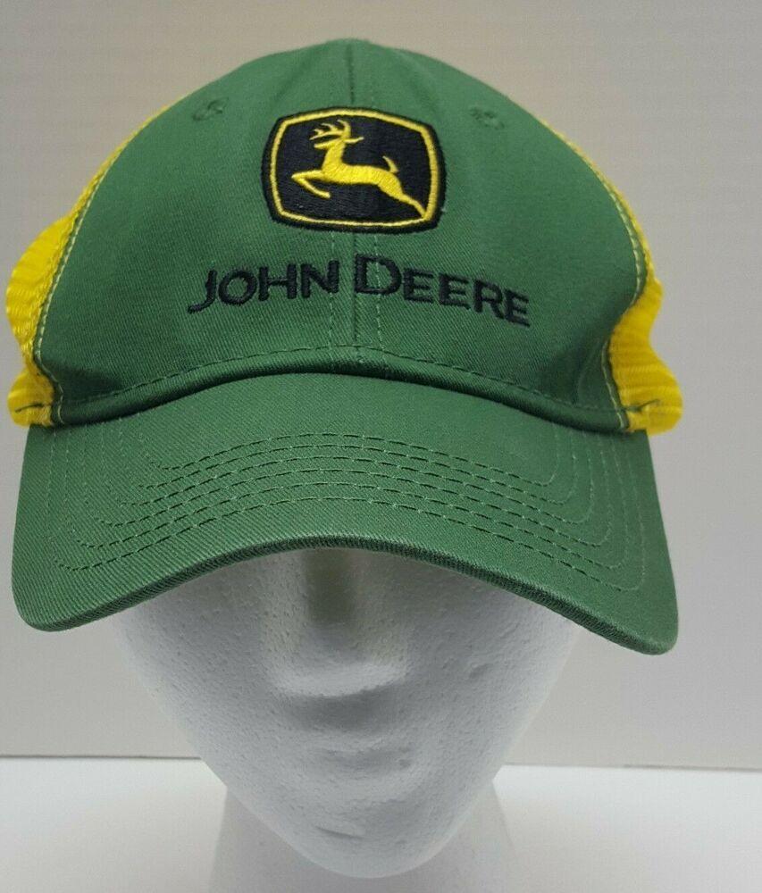 John Deere Logo Green Yellow Mesh Snapback Trucker Hat Cap One Size   JohnDeere  SnapbackCap c60493756ffe