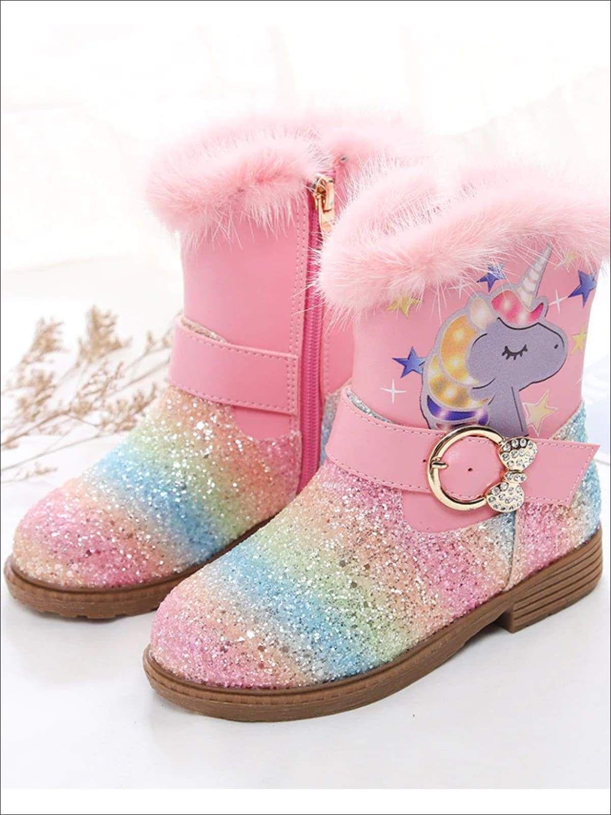 Girls Faux Fur Rainbow Unicorn Glitter