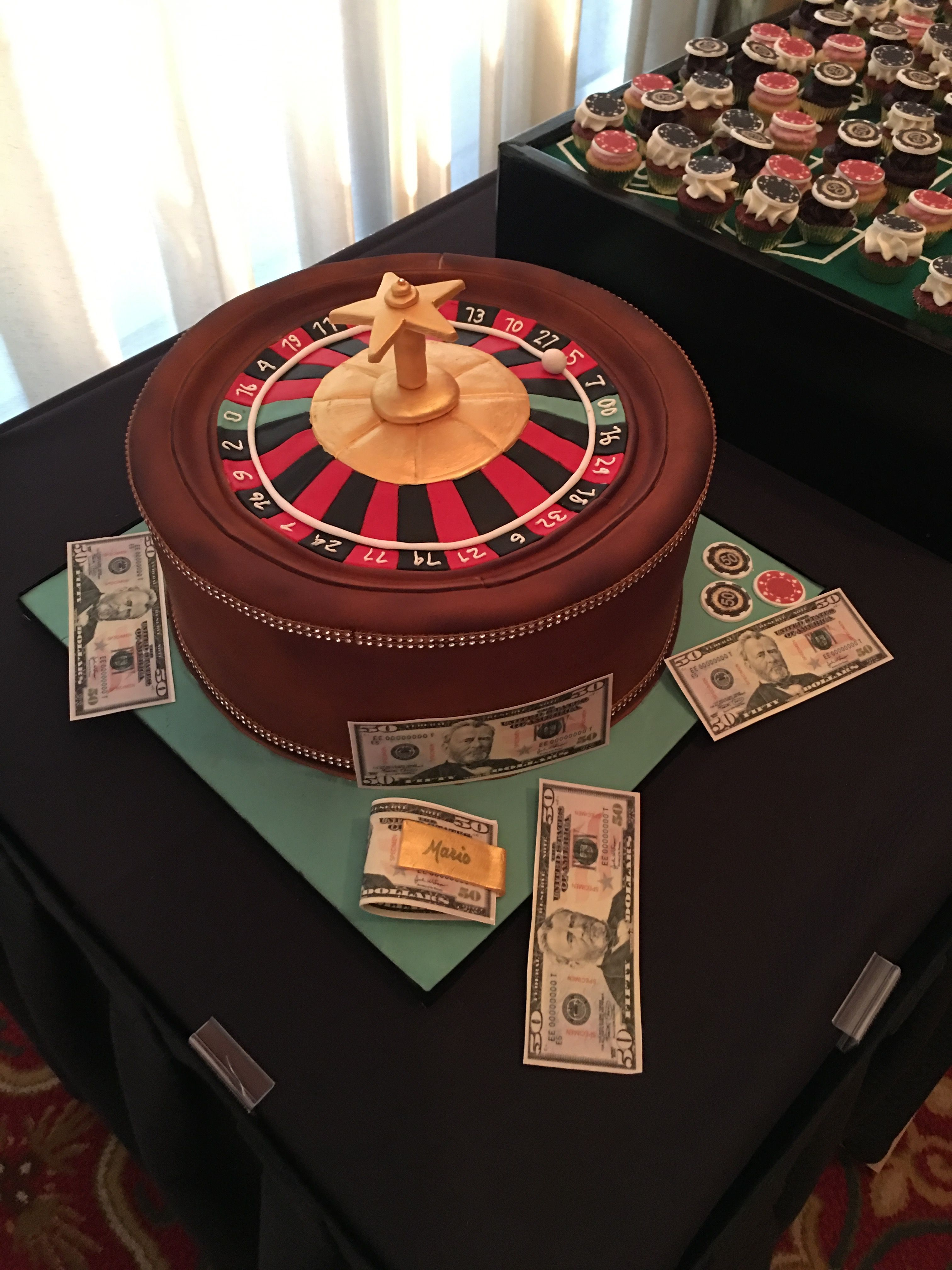 Roulette wheel cake and cupcake chips Fondant finishes and
