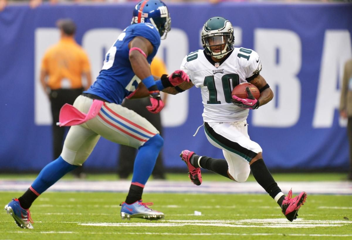 EAST RUTHERFORD, NJ - OCTOBER 06: DeSean Jackson #10 of the Philadelphia Eagles tries to run past Antrel Rolle #26 of the New York Giants at MetLife Stadium on October 6, 2013 in East Rutherford, New Jersey. The Eagles won 36-21. (Photo by Drew Hallowell/Philadelphia Eagles/Getty Images)