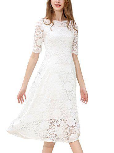 e999f6487656 HOSBY Women One Shoulder Neck Short Sleeve Slim Lace Midlong Dress White  XXLarge -- For