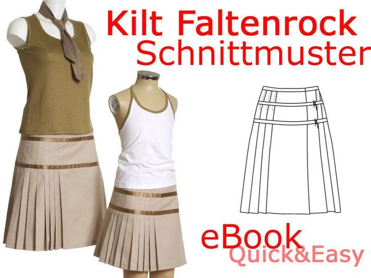 Röcke & Hosen - Kilt Faltenrock Mini Rock SCHNITTMUSTER eBook - ein…