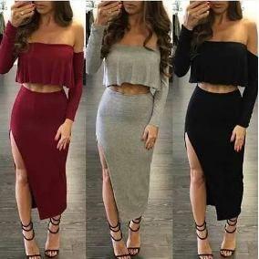 a43e952913 Resultado de imagen para faldas largas con crop top elegantes ...