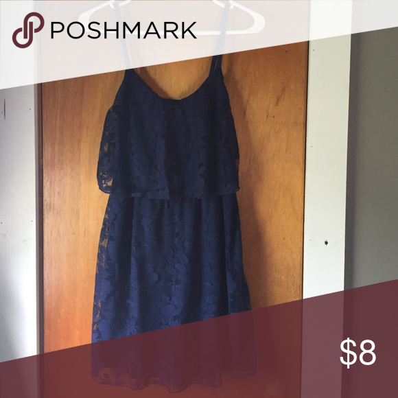 Navy Blue Lace Dress Worn once! Navy blue. Lace! My Michelle Dresses