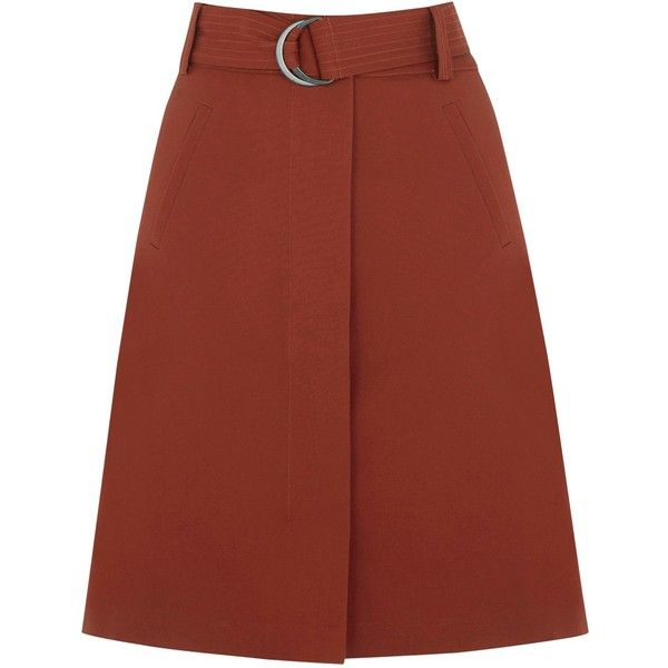 Warehouse Compact A-line Skirt , Copper (475 ZAR) ❤ liked on Polyvore featuring skirts, copper, a line skirt, flare skirt, red flared skirt, knee length a line skirt and flared skirt