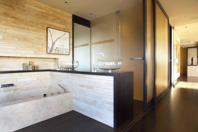 Modern Master Bathroom with Vessel Sink, Drop-In Bathtub, Custom