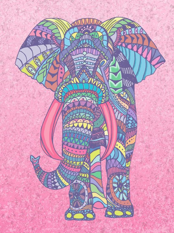 Items Similar To Tribal Print Elephant On Etsy