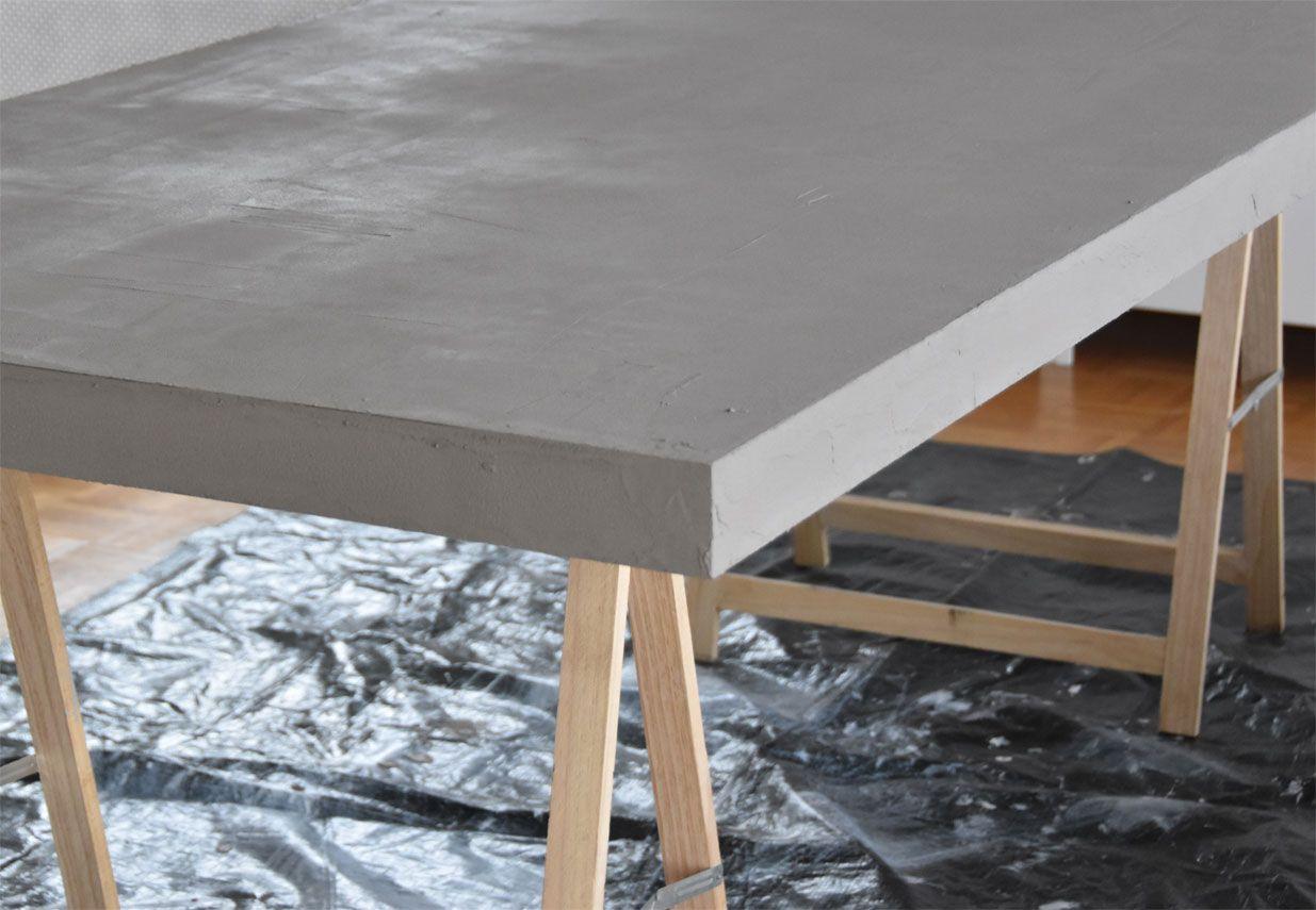 Wohnzimmertisch betonoptik ~ Tisch in betonoptik selber machen ideen mit effektspachtel diy