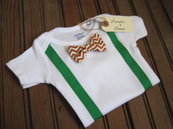 Short Sleeve Chevron Bow Tie Onesie with by LaddiesAndLasses, $18.00