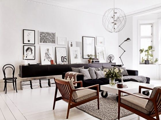 A monochrome apartment with a touch of mid-century Styling by Lotta