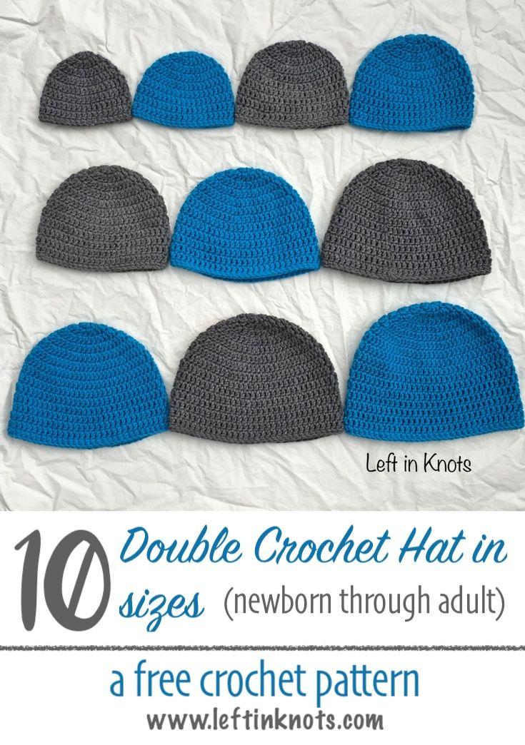 Double Crochet Hat In 10 Sizes Pinterest Simple Crochet Free