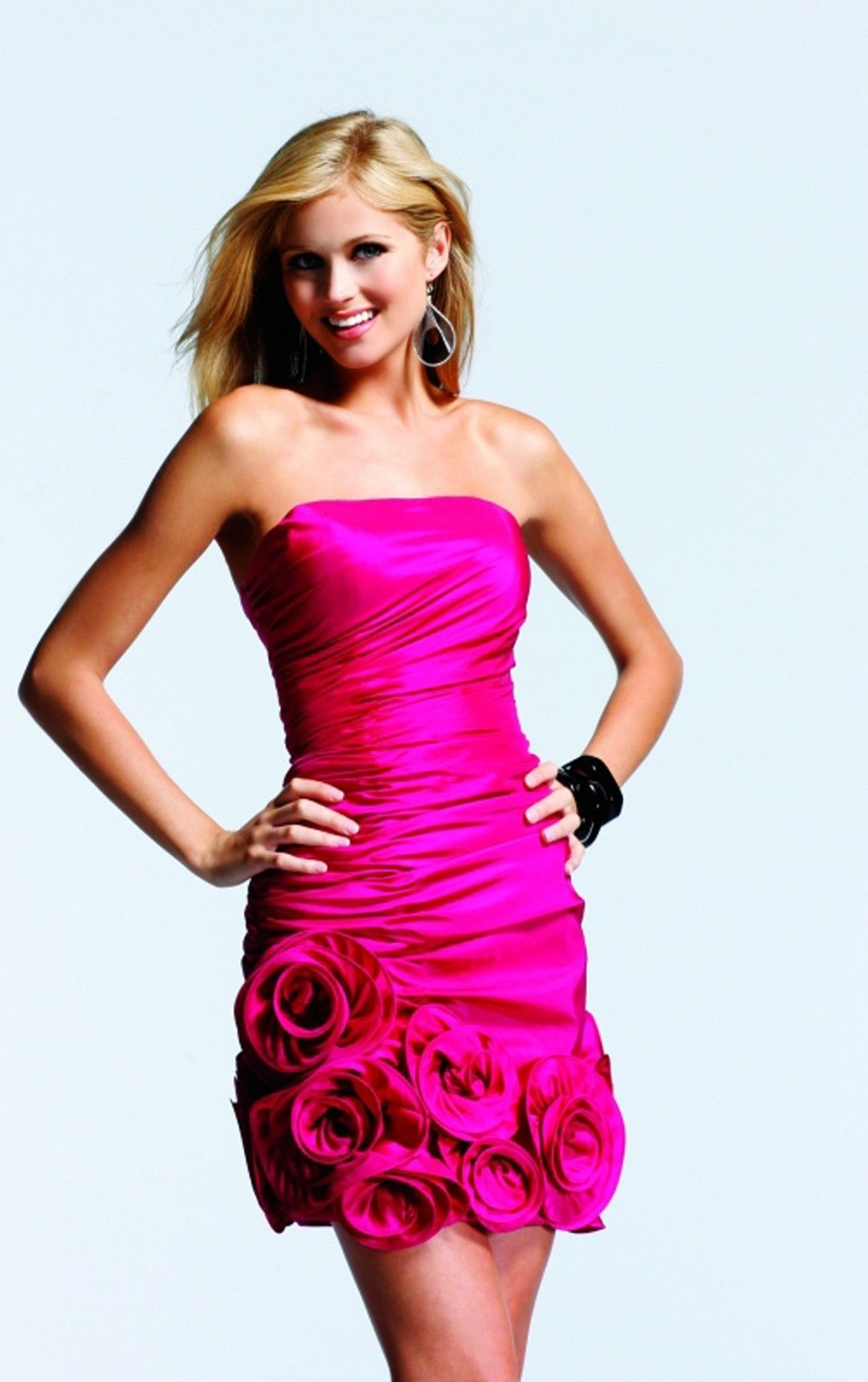 Creative Column Short Strapless Sleeveless Satin Cocktail Dresses ...