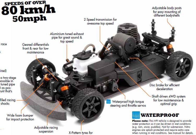 nitro rc car- hpi nitro rs4 evo review, video, 50mph